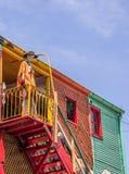 la Boca caminito街道的五颜六色的房子在布宜诺斯艾利斯 免版税库存图片
