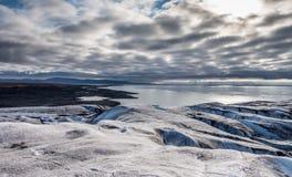 La boca de un glaciar del top Imágenes de archivo libres de regalías