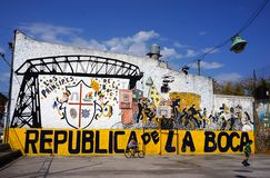 La Boca district Buenos Aires Argentina colorful graffiti wall children playing Stock Photo