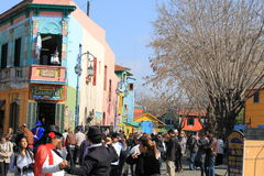 La Boca. One of the district of Buenos Aires, Argentina. Famous turistic place, full of colorful houses, restaurants, cafes, tavernas and tango clubs. Photo Royalty Free Stock Images