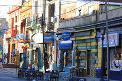 La Boca. One of the district of Buenos Aires, Argentina. Famous turistic place, full of colorful houses, restaurants, cafes, tavernas and tango clubs Royalty Free Stock Images