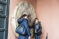 La Bocca della Verita with two girls in Rome, Italy Royalty Free Stock Photo