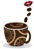 La bocca gradice il caffè Fotografie Stock