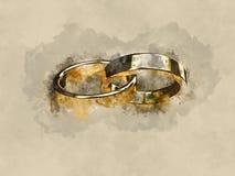 La boda de la boda casa los anillos de bodas del anillo de bodas de los anillos del anillo Fotografía de archivo