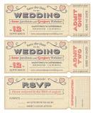 La boda del vector invita a boletos Imágenes de archivo libres de regalías