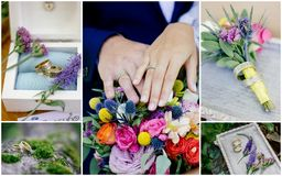La boda detalla el collage - anillos, flores, ramos Fotografía de archivo libre de regalías