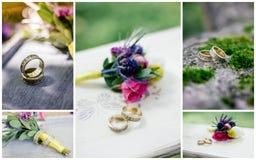 La boda detalla el collage - anillos, flores, ramos Fotos de archivo libres de regalías