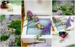 La boda detalla el collage - anillos, flores, ramos Foto de archivo