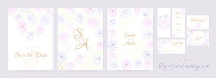 La boda floral invita en colores en colores pastel imagen de archivo libre de regalías
