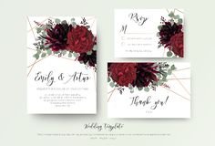 La boda invita a la invitación, rsvp, gracias diseño floral de la tarjeta r stock de ilustración