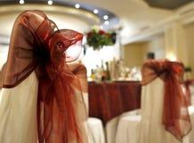 La boda preside la decoración en un salón de baile Foto de archivo