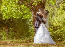 La boda tiró de novia y de novio en parque Imágenes de archivo libres de regalías
