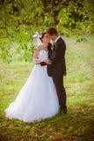 La boda tiró de novia y de novio en parque Foto de archivo