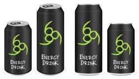 La boisson en aluminium noire d'énergie met en boîte le vecteur illustration de vecteur