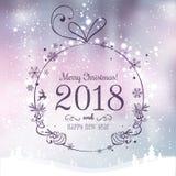 La bola brillante de Navidad por la Feliz Navidad 2018 y el Año Nuevo en fondo de los días de fiesta con el paisaje con los copos ilustración del vector