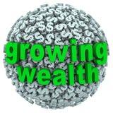 La bola creciente de la muestra de dólar de las palabras de la riqueza gana renta Foto de archivo libre de regalías