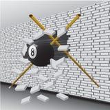 La bola de billar rompi? la pared stock de ilustración