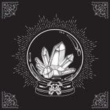 La bola de cristal mágica dibujada mano con la línea arte y punto de las gemas funciona Illustra elegante del vector del diseño d ilustración del vector