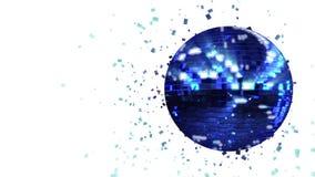 La bola de discoteca azul marino de giro del resplandor integrada por cubo-cristales con hockey shinny raya libre illustration