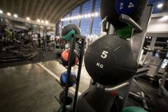la bola de entrenamiento de 5 kilogramos colocó en estante en gimnasio foto de archivo
