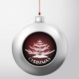 La bola de la Navidad con un abeto y el confeti rojo asaltan dentro ilustración del vector