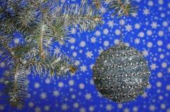 La bola de plata adorna el árbol de navidad Imagen de archivo
