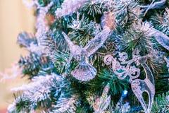 La bola del ornamento de la Navidad para el festival del Año Nuevo de Navidad adorna en fondo del árbol de pino Fotografía de archivo libre de regalías