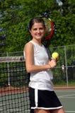 La bola, la raqueta y yo son felices Foto de archivo