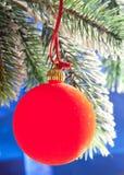 La bola roja del Año Nuevo en un abeto verde del Año Nuevo Imagenes de archivo