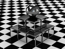 La bola y los cubos metálicos Imagen de archivo libre de regalías