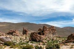 La Bolivie : formations de roche rouges de l'Italie Perdida, ou l'Italie perdue, en réservation d'Eduardo Avaroa Andean Fauna Nat photos libres de droits