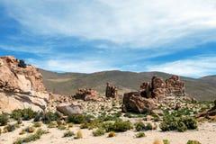 La Bolivie : formations de roche rouges de l'Italie Perdida, ou l'Italie perdue, en réservation d'Eduardo Avaroa Andean Fauna Nat images stock