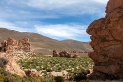 La Bolivie : formations de roche rouges de l'Italie Perdida, ou l'Italie perdue, en réservation d'Eduardo Avaroa Andean Fauna Nat images libres de droits