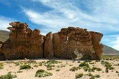 La Bolivie : formations de roche rouges de l'Italie Perdida, ou l'Italie perdue, en réservation d'Eduardo Avaroa Andean Fauna Nat photographie stock libre de droits