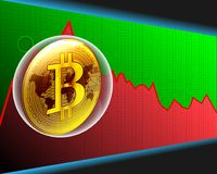 La bolla del bitcoin e la mappa di mondo dorate sul maket di riserva schiantano il gra illustrazione di stock