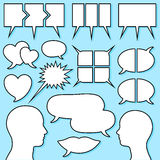 La bolla di discorso ha impostato con la testa maschio e femminile Fotografie Stock Libere da Diritti