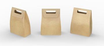 La bolsa de papel de Brown dobló el paquete con la manija, inclu de la trayectoria de recortes Imágenes de archivo libres de regalías