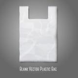La bolsa de plástico blanca en blanco con el lugar para su diseño Imagen de archivo libre de regalías
