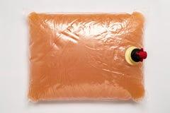 La bolsa de plástico con el golpecito lleno de zumo de manzana Imagen de archivo