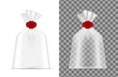 La bolsa de plástico transparente Empaquetando para el pan, café, dulces, co ilustración del vector