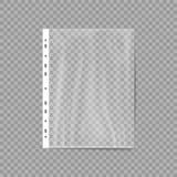 La bolsa de plástico vacía Bolsillo perforado Fichero del negocio Protector de la hoja aislado en un fondo transparente Ilustraci Imagenes de archivo