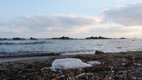 La bolsa de pl?stico en la playa arenosa con las ondas que golpean la orilla de mar Contaminaci?n de la playa C?mara lenta almacen de video
