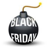 La bomba circa allo scoppio con le vendite di Black Friday etichetta Fotografie Stock Libere da Diritti