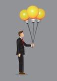 La bombilla de Holding del hombre de negocios hincha el vector Illustrati de la historieta stock de ilustración