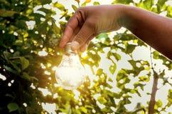 la bombilla del concepto con puesta del sol y el ahorro accionan energía Foto de archivo