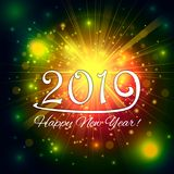 La BONNE ANNÉE 2019 de l'étincelle colorée sur les feux d'artifice noirs de fond allument le ciel, feux d'artifice de célébration Image stock