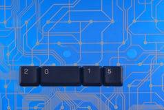 La bonne année est des clés de clavier rayées Photographie stock