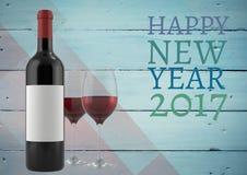La bonne année 2017 souhaite avec les verres et la bouteille de vin Image libre de droits