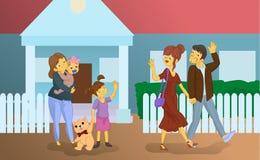 La bonne d'enfants avec des enfants voit outre des parents Image libre de droits