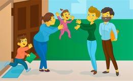 La bonne d'enfants avec l'enfant rencontre la maman et le père Photos libres de droits